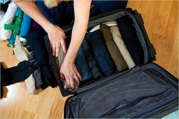 8. Packing a casual carry on.